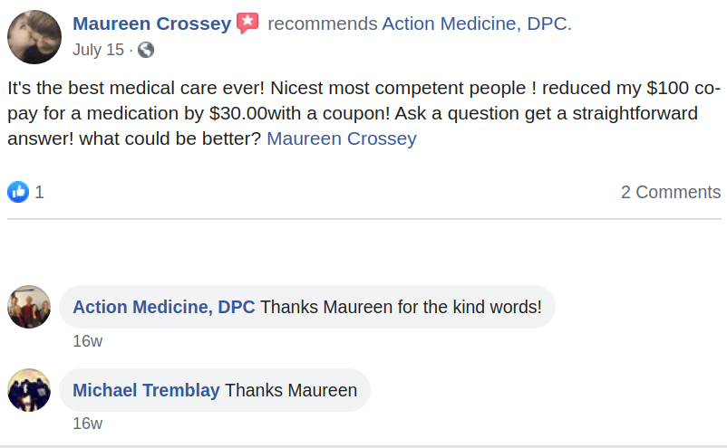 Facebook Review of Action Medicine